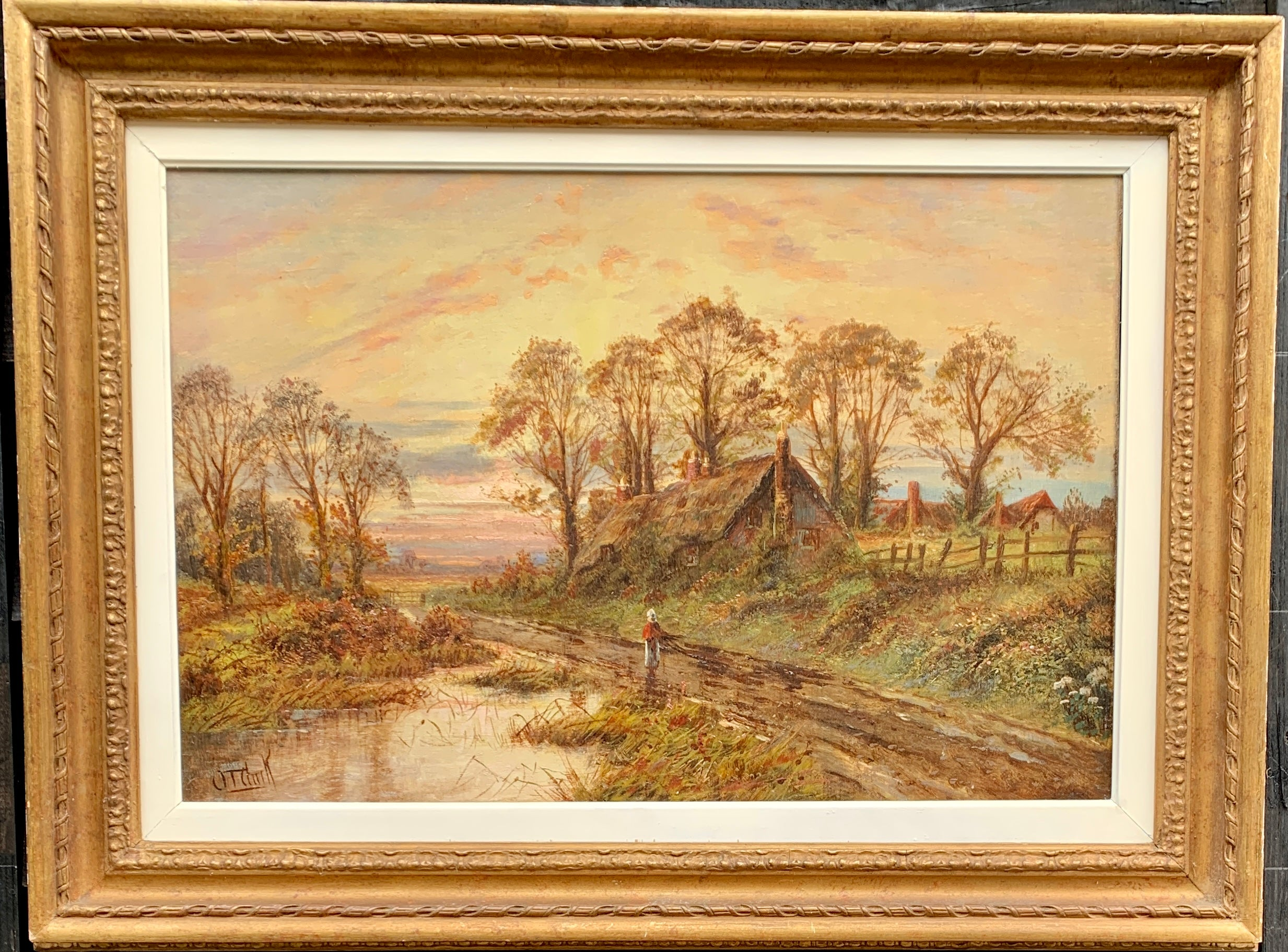 19th century Victorian English landscape with thatched cottage, figure at sunset