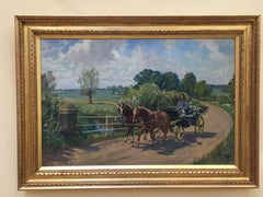 English Lady in a horse and Buggy in an Impressionist landscape