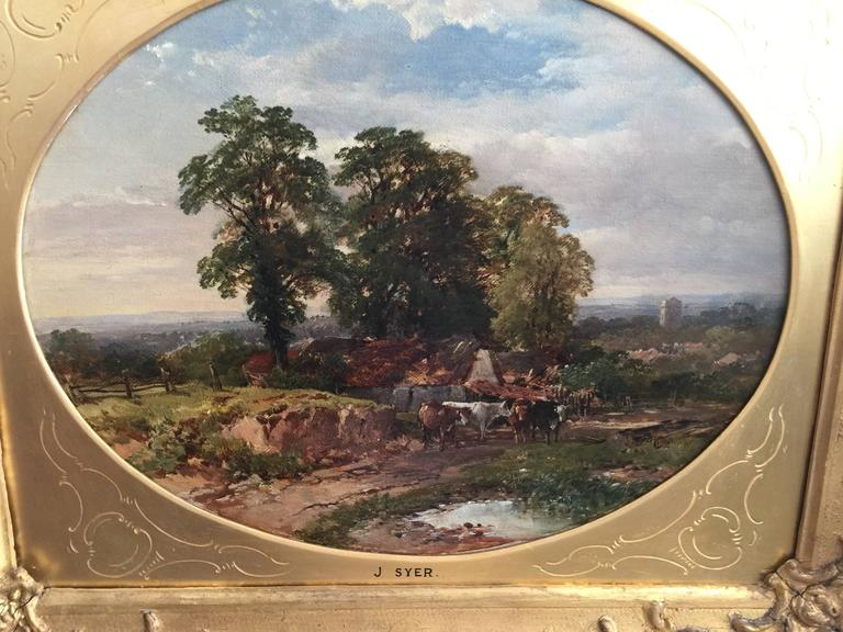 Extensive English Rural Victorian Cottage landscape - Painting by John Syer