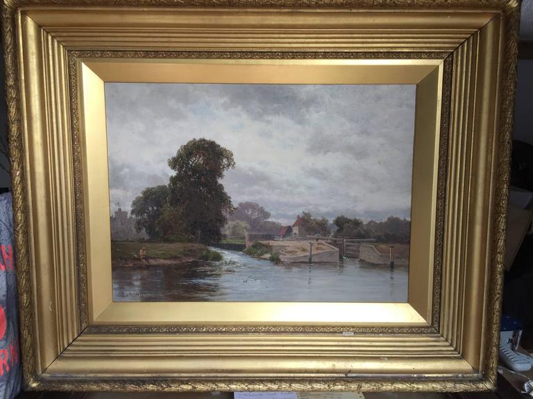 Alfred de Breanski Sr. Landscape Painting - Winsor Lock, On the River Thames, Near London, England
