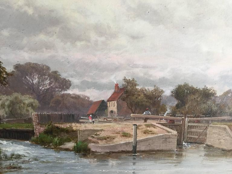 Winsor Lock, On the River Thames, Near London, England - Painting by Alfred de Breanski Sr.