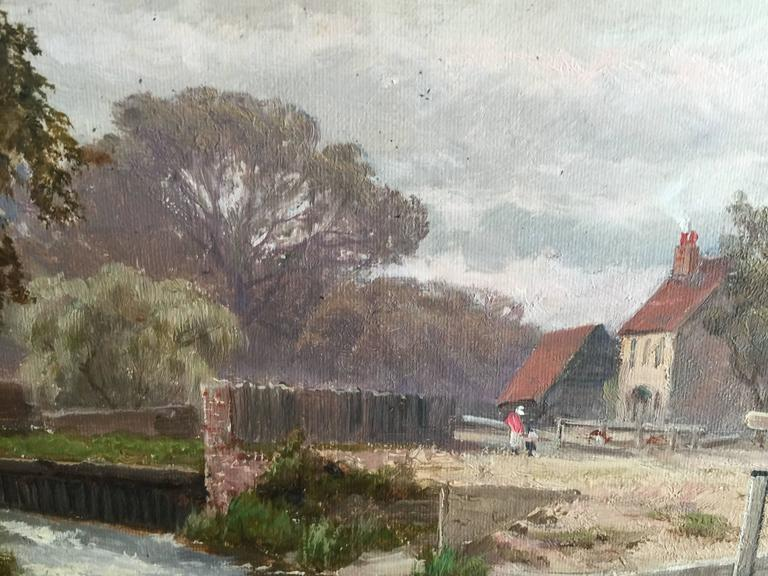 Winsor Lock, On the River Thames, Near London, England - Gray Landscape Painting by Alfred de Breanski Sr.