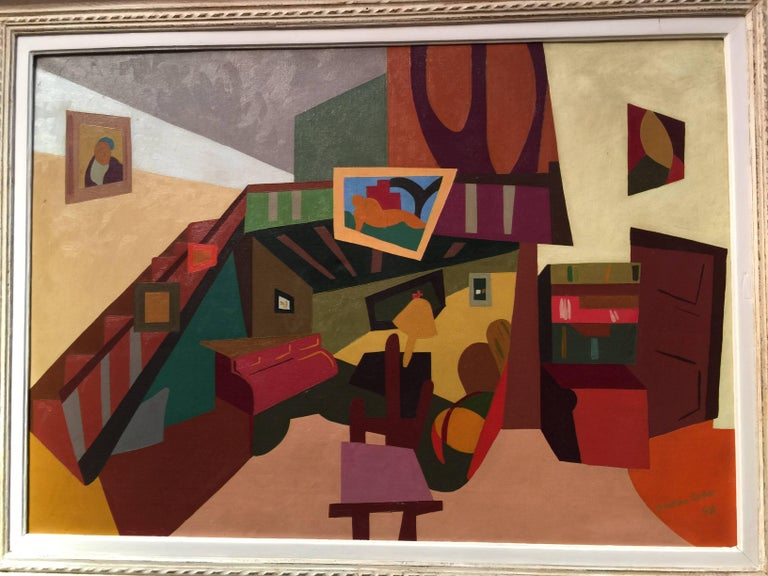 Exceptional Cubist interior scene, The artist was a French painter during the mid 20th century, painting interiors, portraits and landscapes.