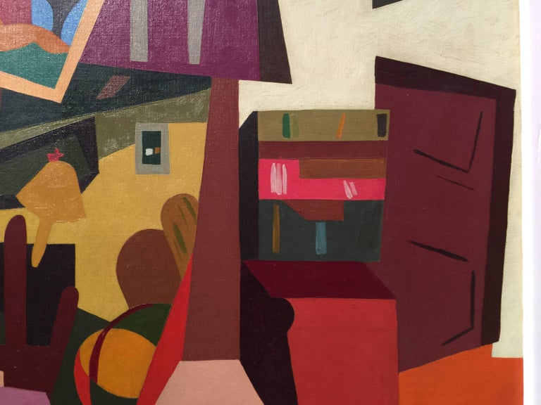 French Cubist mid century Interior - Brown Interior Painting by Alain Mettais Cartier