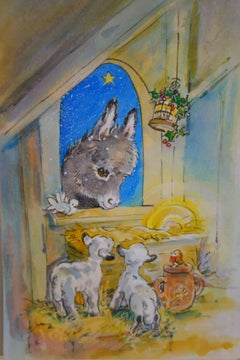 Christmas night with Donkeys, a Robin and Lambs in a stable by a crib