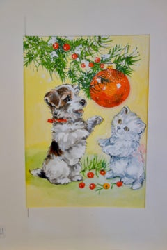 An English Terrier Puppy with a Kitten playing with a Christmas decorations