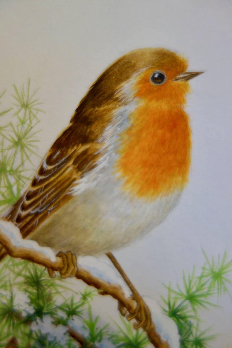 A Christmas Robin standing on a snow covered branch of a tree, English  - Art by Ella Bruce