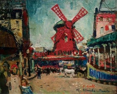 French Impressionist  scene of the Windmill at the  Moulon Rouge, Paris, France