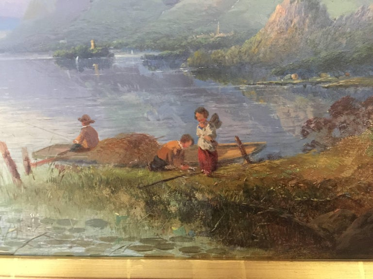 Victorian Sunset by the Loch Side in the Highlands of Scotland, with fishing - Painting by Thomas Dingle Sr.