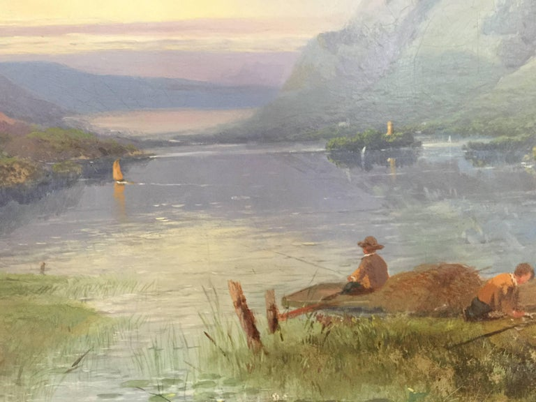 Excellent painting depicting people by the shore line in the highlands of Scotland. Dingle painted all over the British Isles and was well known for his wonderful landscape scenes, harvest subjects and landscapes. He exhibited his work in various