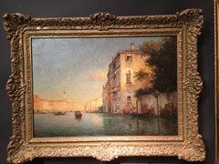 Setting Sun along a canal, Venice, Italy
