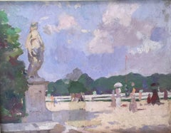 An Impressionist view of the gardens in Versailles near Paris, France