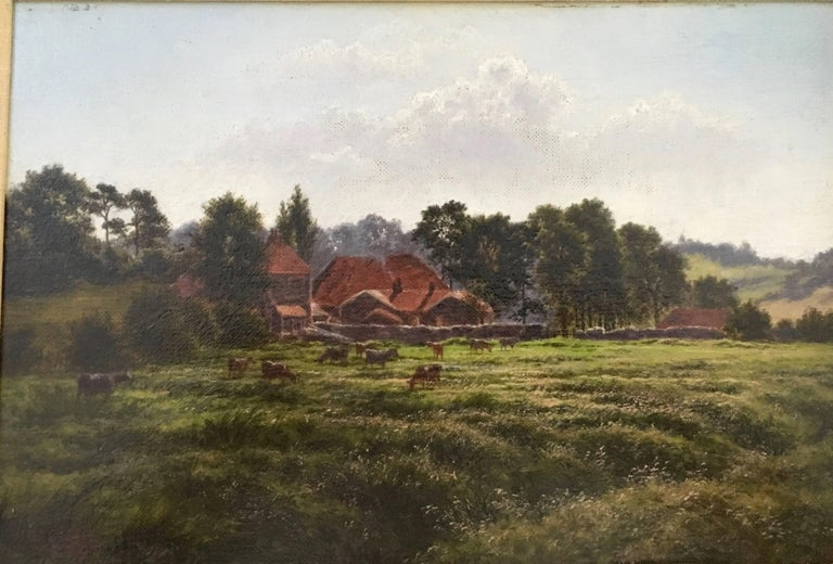 English Victorian farm scene with landscape in Summertime - Painting by Horace Walter Gilbert