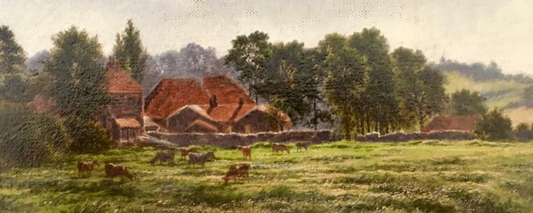 English Victorian farm scene with landscape in Summertime - Black Landscape Painting by Horace Walter Gilbert