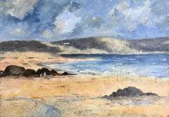 Impressionist Beach scene with Children playing by rocks, Ireland