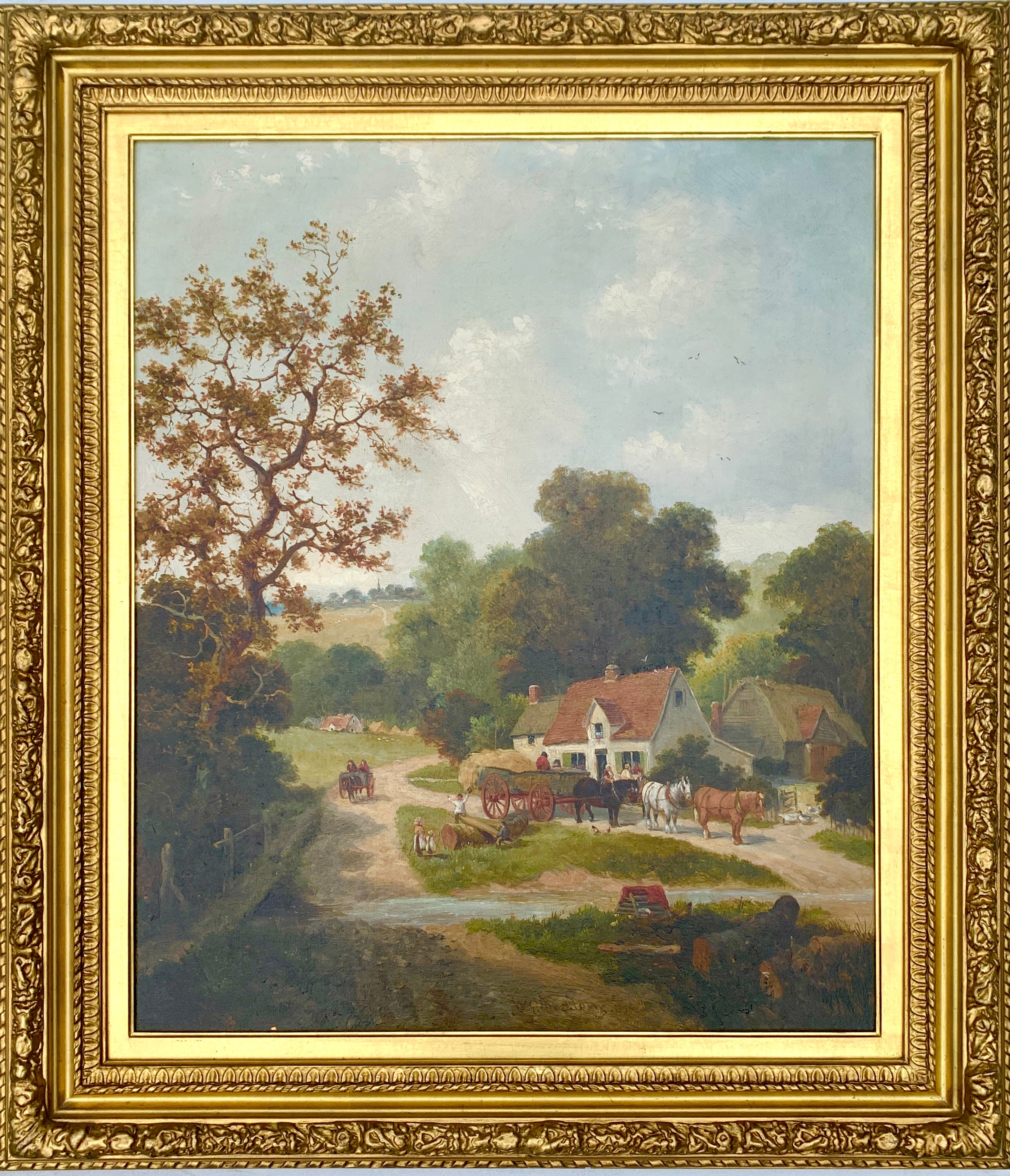 English Victorian 19th century Cottage landscape with horses and cart