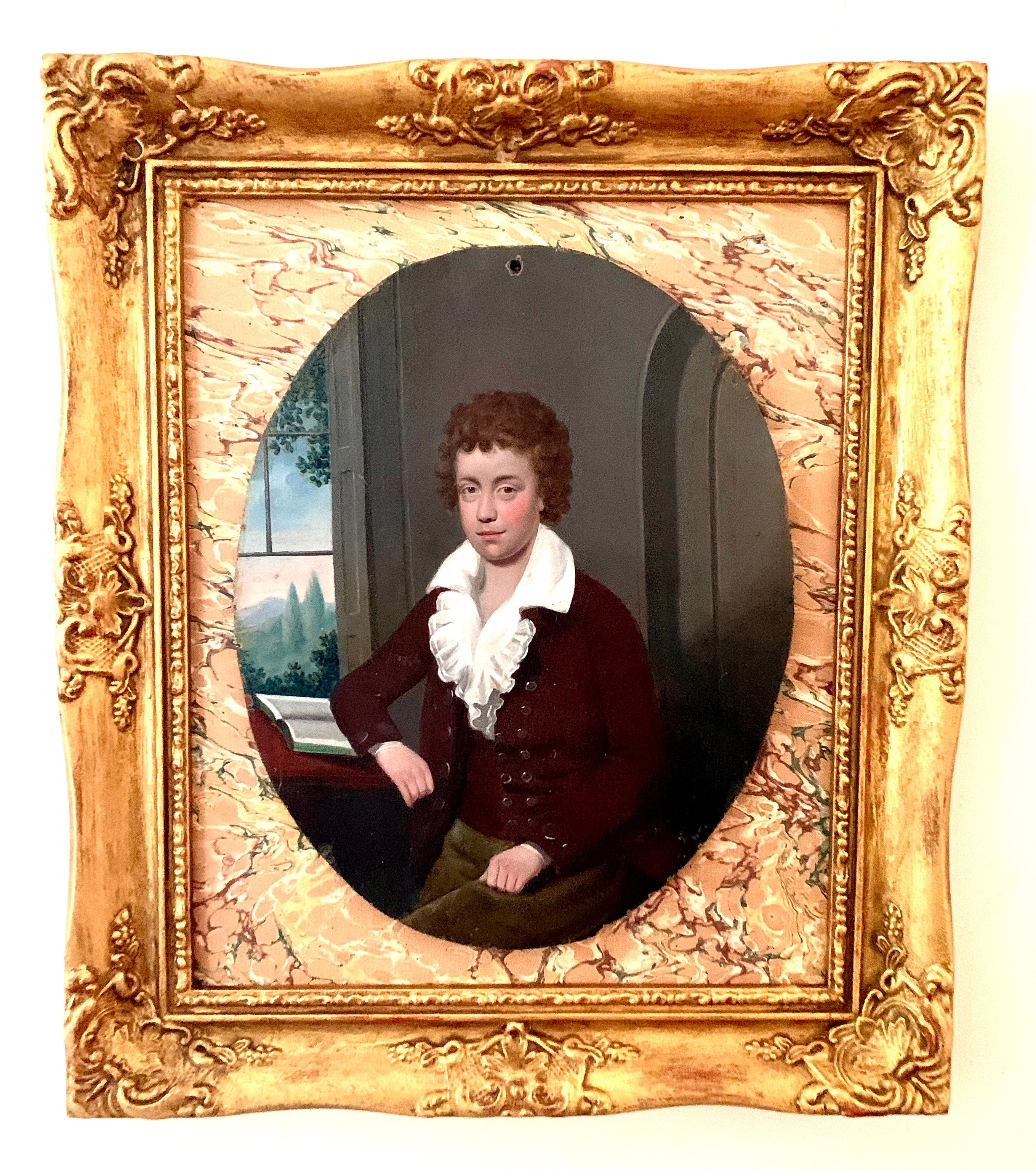 19th century Antique European portrait, young boy seated with book by landscape