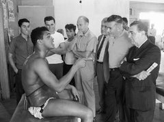 Cassius Clay with Newspaper Sports Writers, Black & White Photography