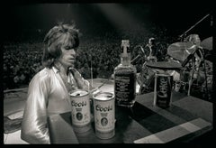 Keith Richards with Jack & Coors, Rolling Stones, Black and white print, Music