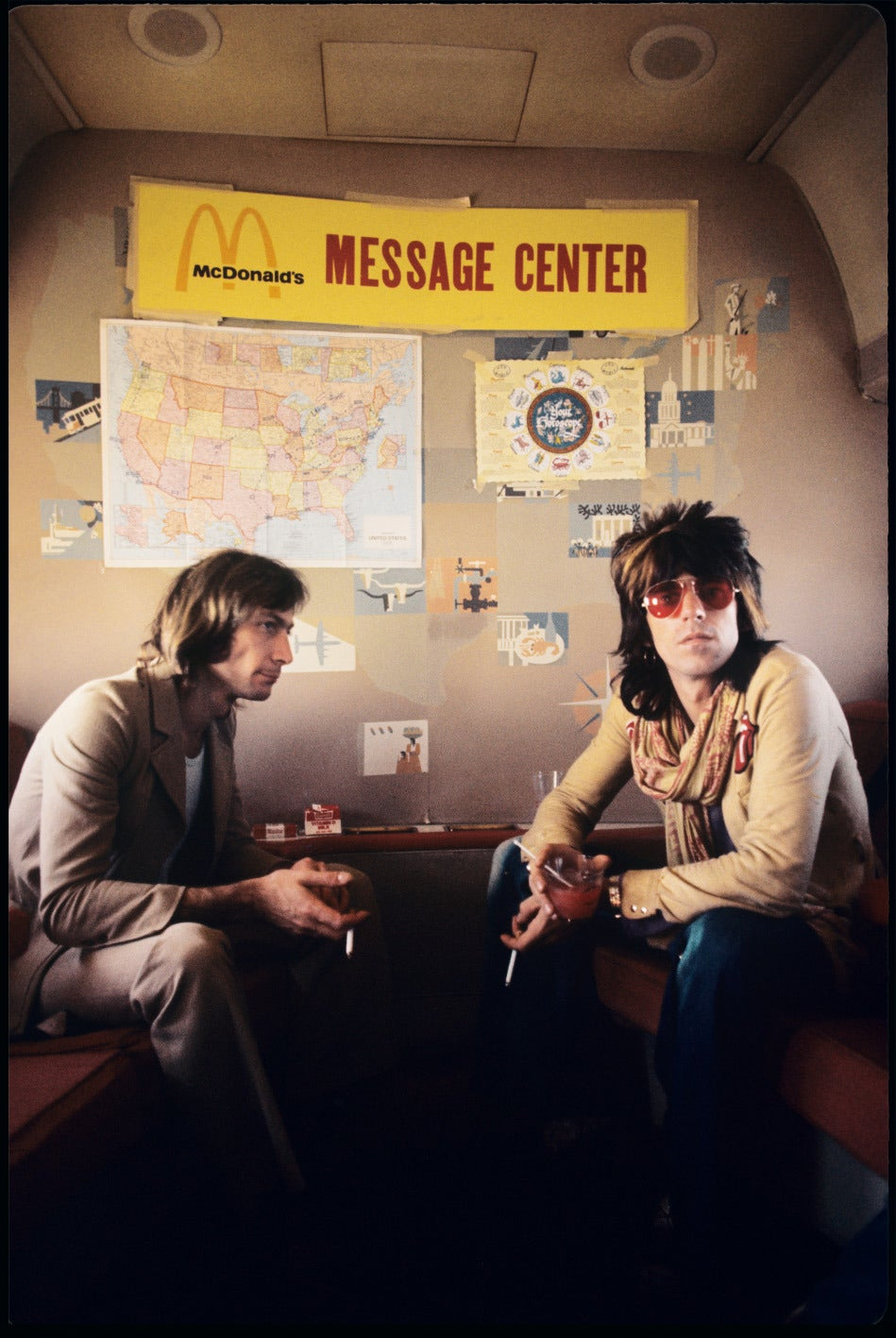 """Ethan Russell Color Photograph - Charlie Watts and Keith Richards """"Message Center"""""""