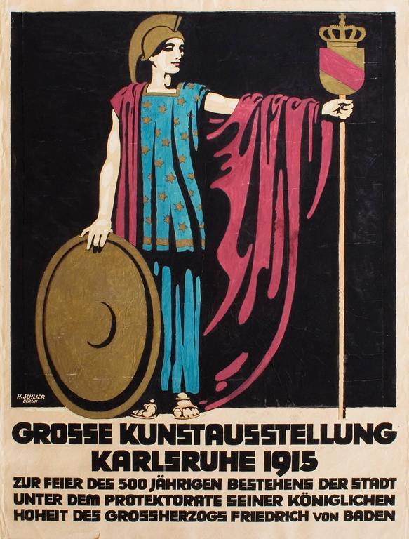 Hans Schlier Figurative Art - Plakatentwurf zur großen Kunstausstellung Karlsruhe 1915 (Poster design)