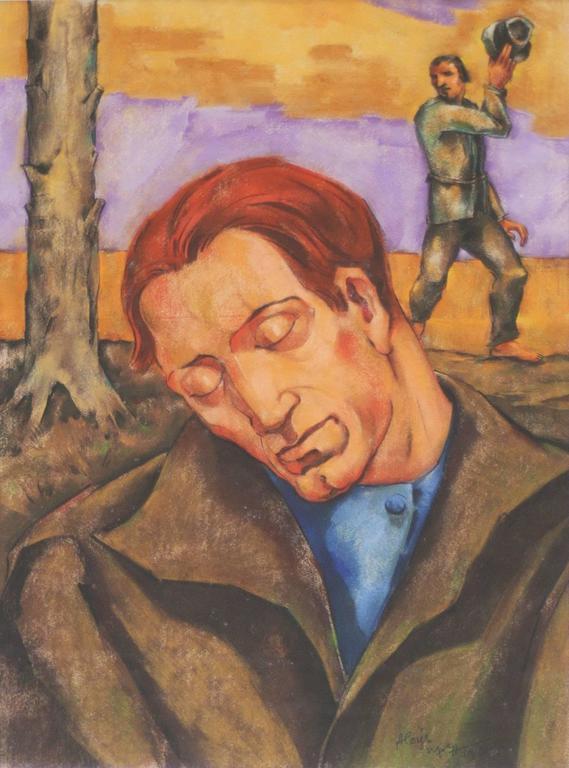Mensch in der Landschaft (Person in Landscape) - Mixed Media Art by Aloys Wach