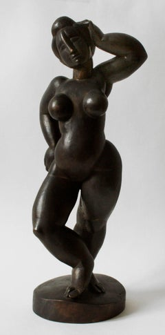 Standing Female Nude - Bronze, Post-Modern, Archaic, Round Forms, 2001,
