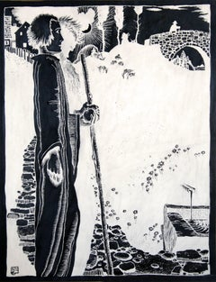 Wanderer (Hiker) - Ink, Black, White, Modern, Art Nouveau, Mystic, Early 20th C.