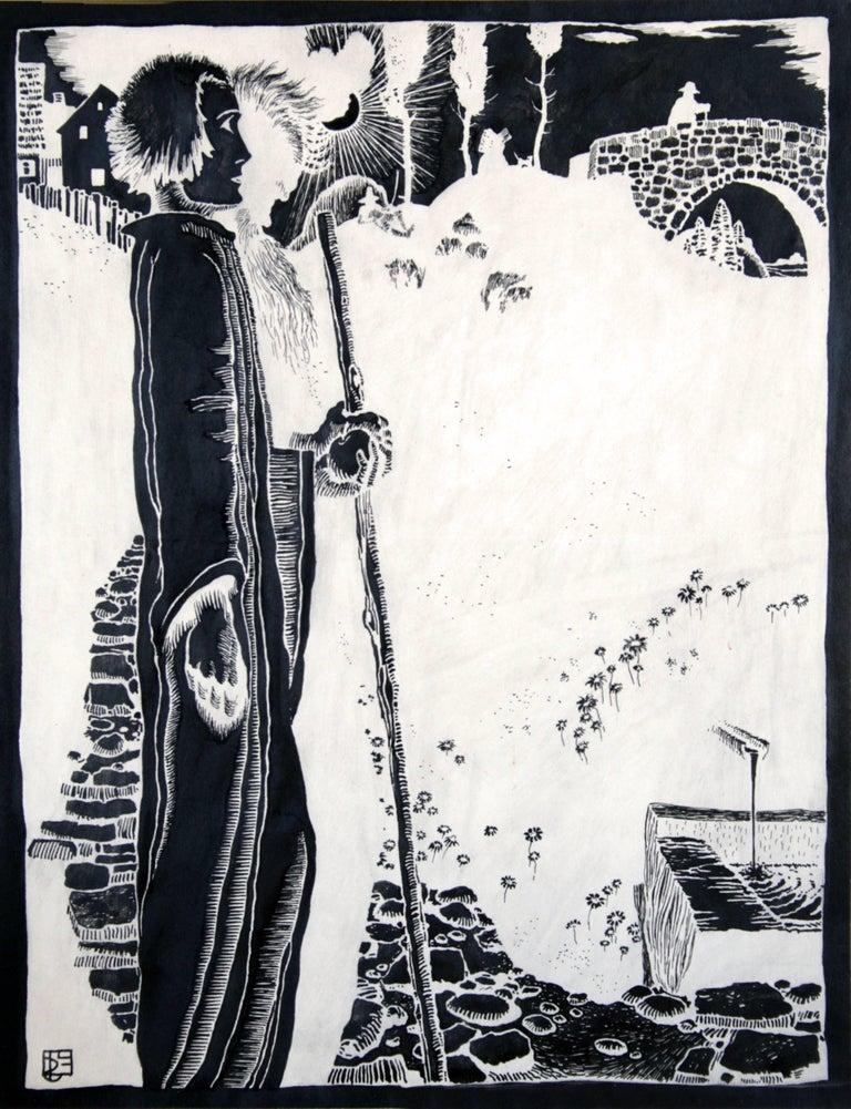 Erwin Stolz Figurative Art - Wanderer (Hiker) - Ink, Black, White, Modern, Art Nouveau, Mystic, Early 20th C.