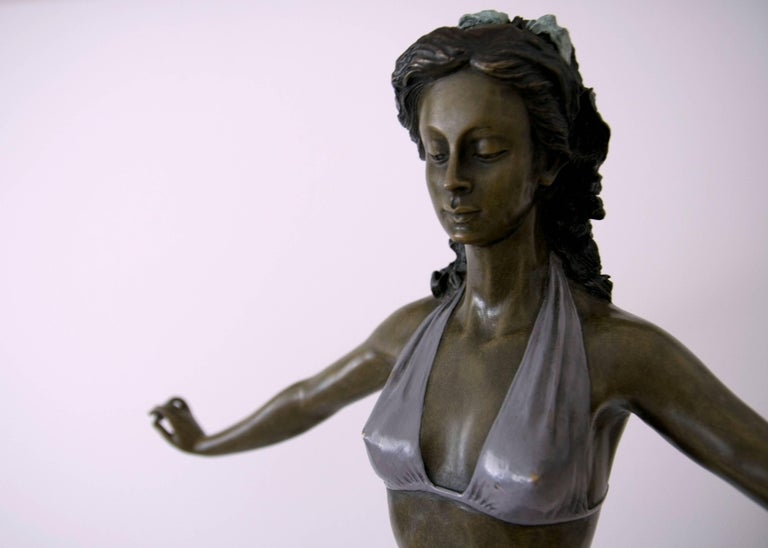 Standing Woman in Bikini - Bronze, Grey Patina, Modern, Art Nouveau, 20th Cent. For Sale 3