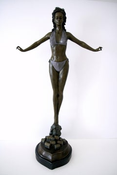 Standing Woman in Bikini - Bronze, Grey Patina, Modern, Art Nouveau, 20th Cent.