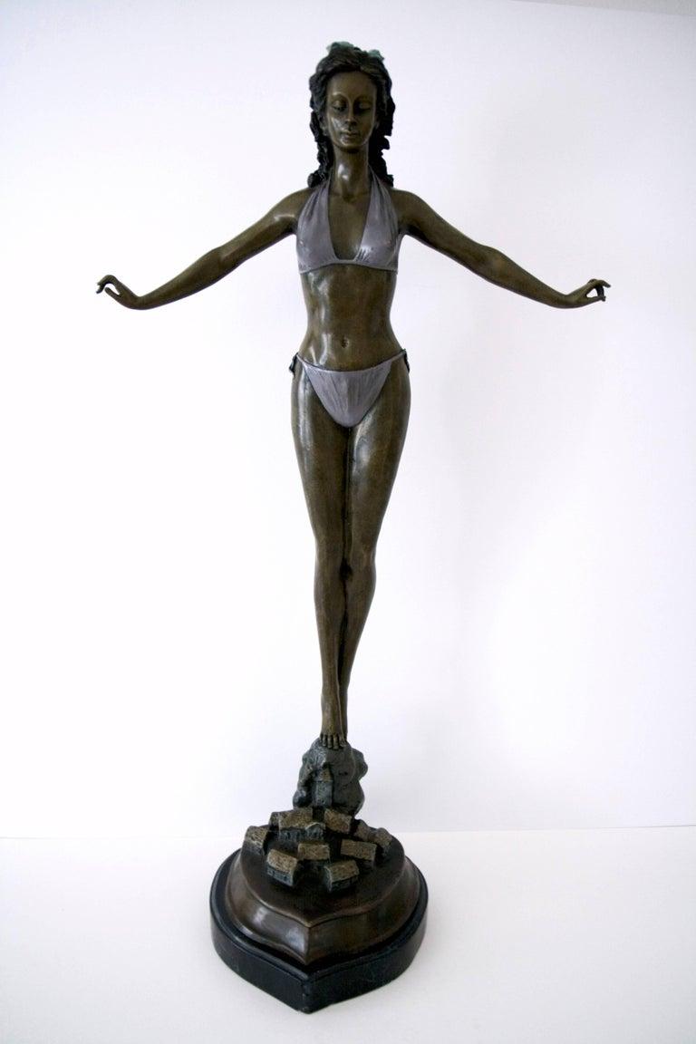 Jules Jouant Figurative Sculpture - Standing Woman in Bikini - Bronze, Grey Patina, Modern, Art Nouveau, 20th Cent.
