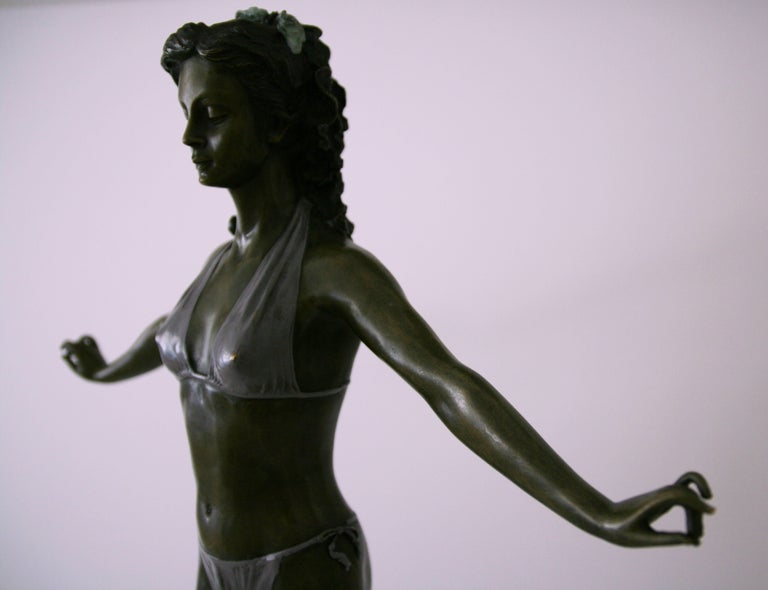 Standing Woman in Bikini - Bronze, Grey Patina, Modern, Art Nouveau, 20th Cent. For Sale 2