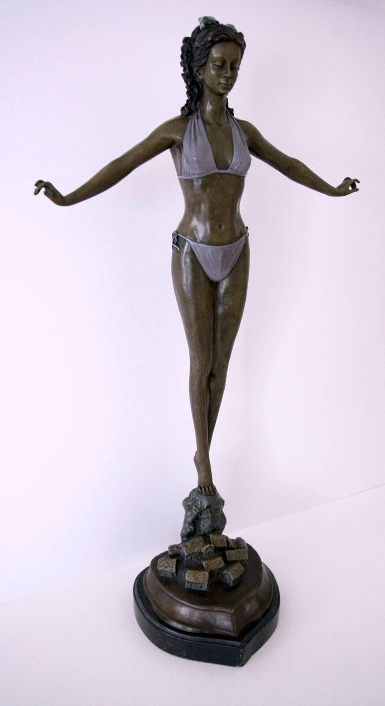 Standing Woman in Bikini - Bronze, Grey Patina, Modern, Art Nouveau, 20th Cent. - Gold Figurative Sculpture by Jules Jouant