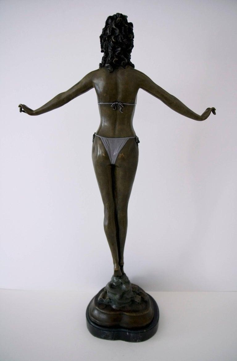 Standing Woman in Bikini - Bronze, Grey Patina, Modern, Art Nouveau, 20th Cent. - Sculpture by Jules Jouant