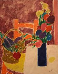 1960's French School Large Post Impressionist Signed Oil Painting Still Life