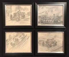 Set of Four 1930's Motor Car Racing Original Drawings Signed Dated Framed