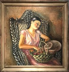 Large 1930's French Post-Impressionist Oil - Lady seated Siesta time