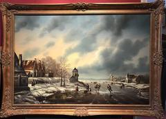 LARGE DUTCH WINTER SCENE FIGURES ICE SKATING SIGNED OIL PAINTING