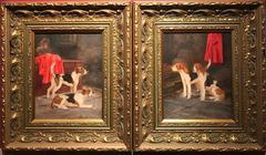 Fine Pair English Dog Oil Paintings - Hunting Hounds in Kennels - Signed