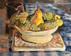 Mid 20th Century French Post-Impressionist Oil Painting Grapes & Pears