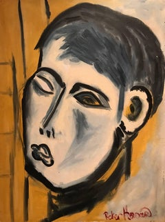 Stunning 1960's Abstract Portrait of Young Man - Signed Oil