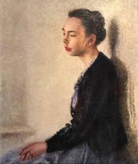 Portrait of a Lady - Mid 20th Century British Impressionist Oil Painting