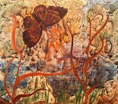 1960's ButterFly Surrealist Oil Painting - Elvic Steele (1920-1997)