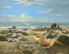 Willi Rondas - The Birth of Aphrodite - Huge Surrealist Oil Painting - 1970's