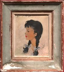 Fine Mid 20th Century French Oil Portrait Young Girl - Vintage Period Frame