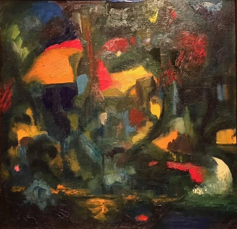 Unknown British Abstract Expressionist Large Oil Painting
