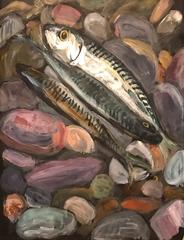 Mackerel - Original Oil Painting Still Life Beach House/ Kitchen Picture
