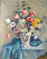 Vase de Fleurs - 1940's French Impressionist Flower Painting - Listed Artist