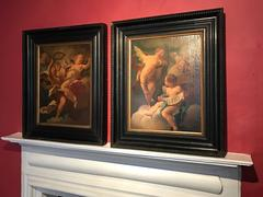 18th Century French Rococo Pair Oil Paintings Cherubs - Old Masters